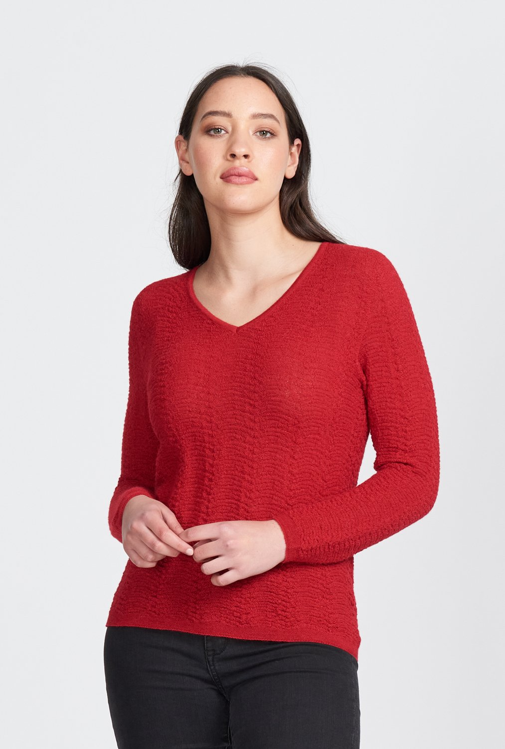 ROSA V NECK JUMPER - Woolshed Gallery