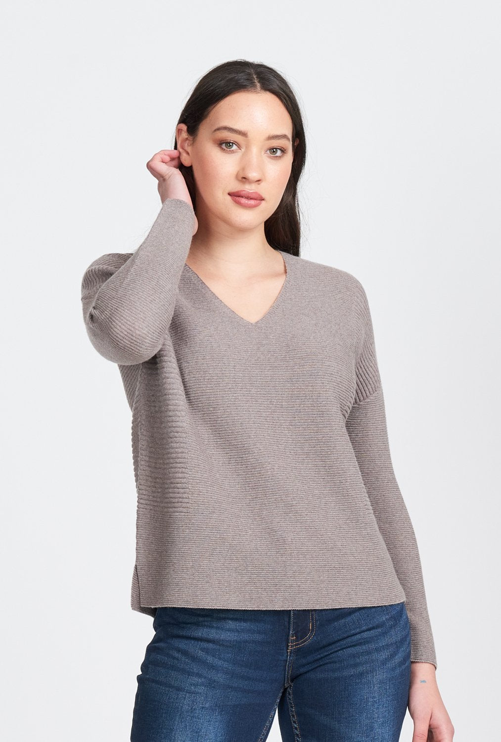 L/S V NECK RIPPLE JUMPER - Woolshed Gallery