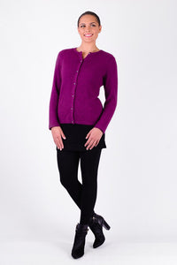 CARDIGAN WITH GENUINE SWAROVSKI BUTTONS - Woolshed Gallery