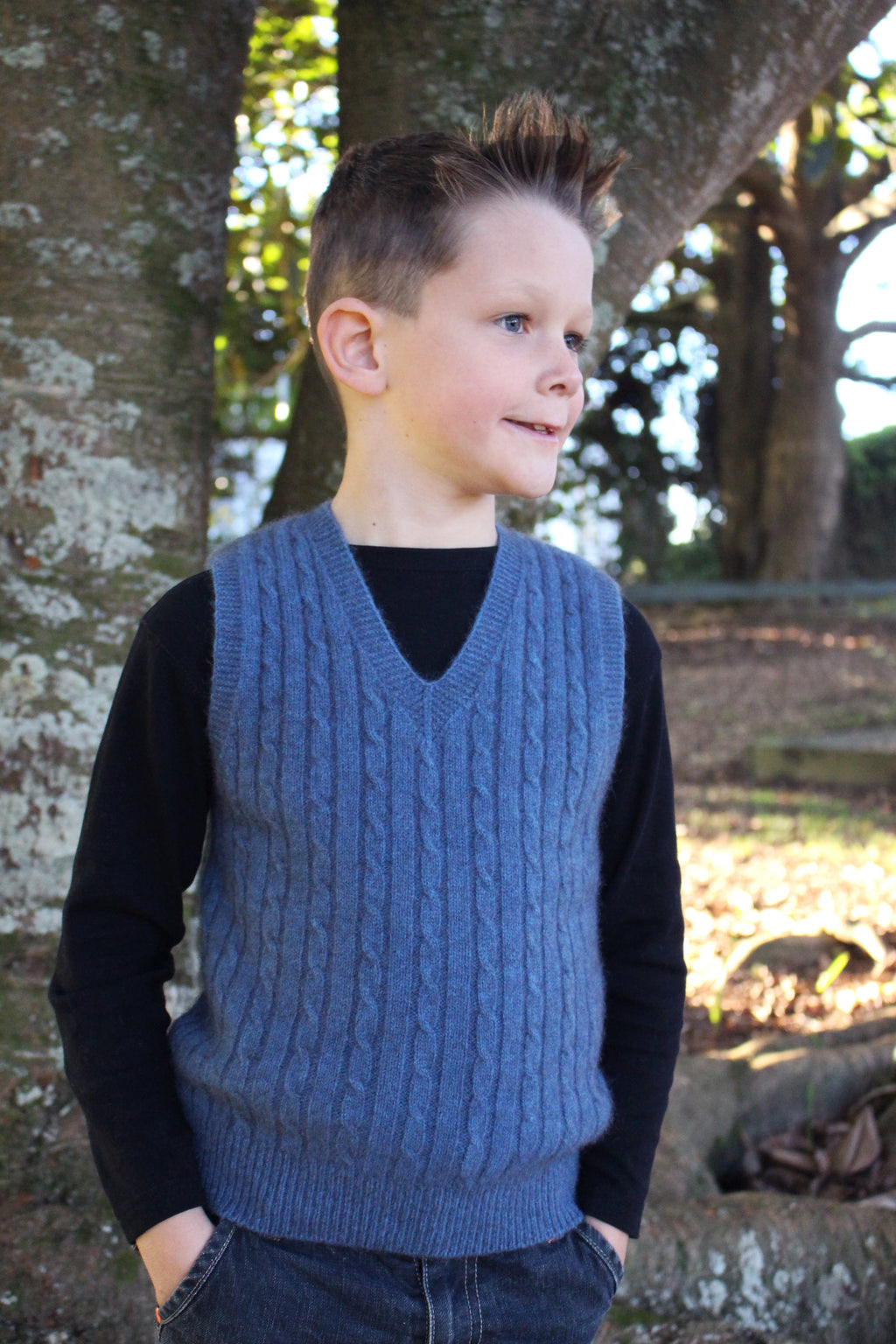 BOY'S CABLE VEST - Woolshed Gallery