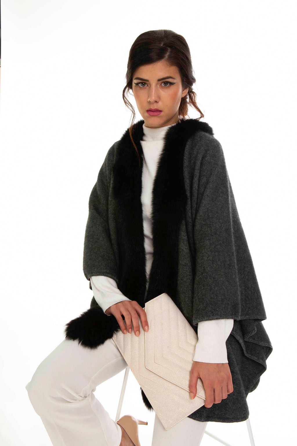 FUR TRIM CAPE - Woolshed Gallery