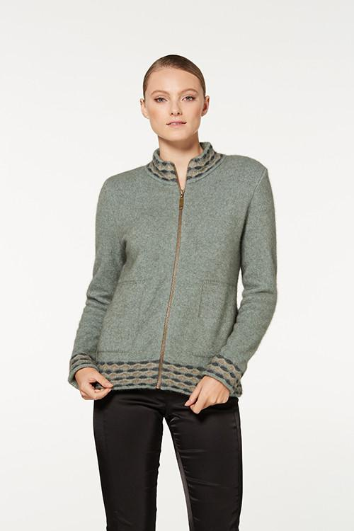 WAVE TRIM ZIP CARDIGAN