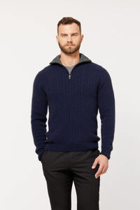 CABLE JERSEY WITH CONTRAST TRIM