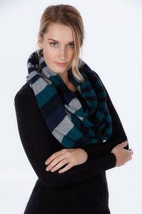 4 TONE BLOCK COLOUR LOOP SCARF - Woolshed Gallery
