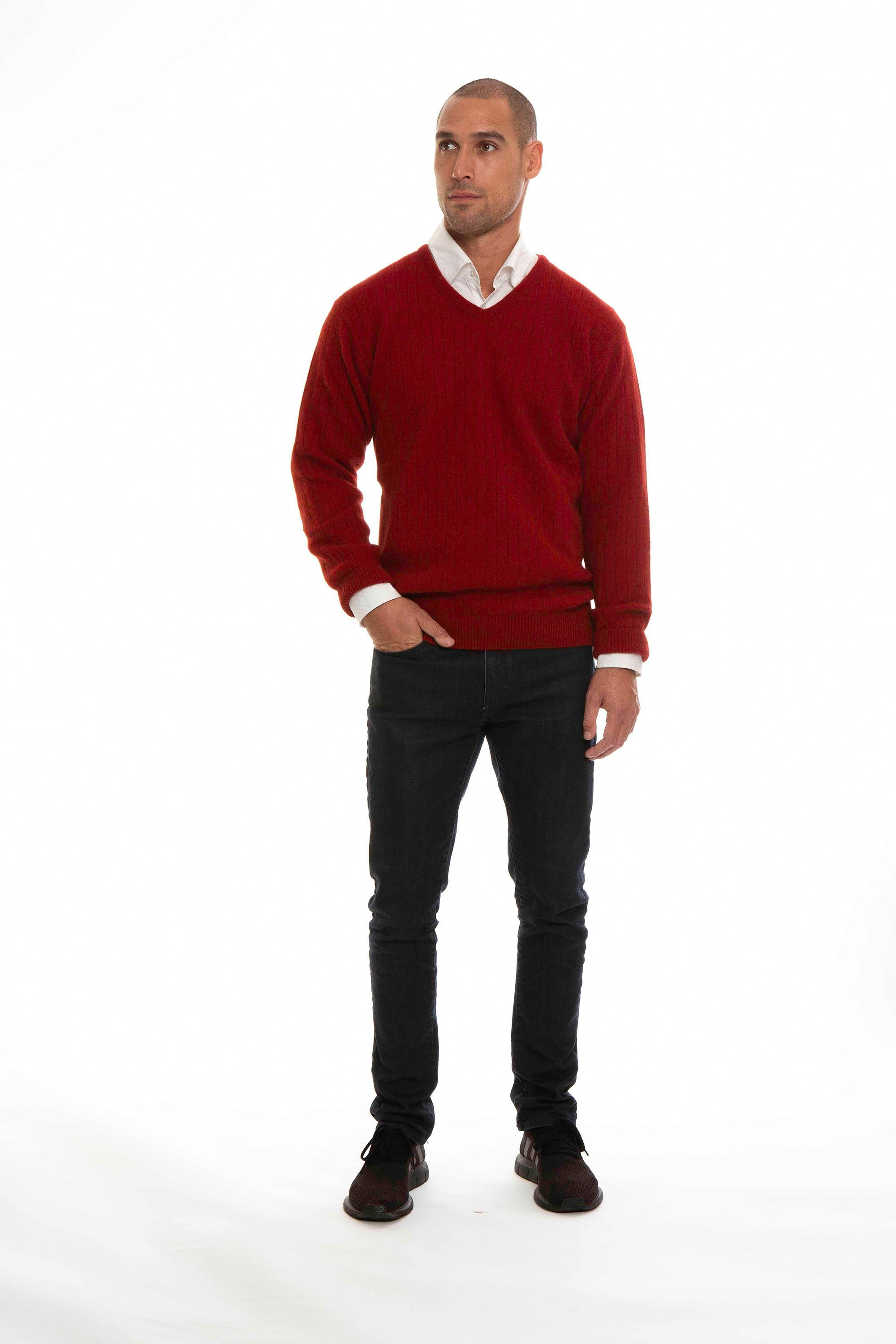 RIBBED V JUMPER