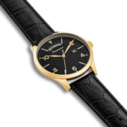 Gents watch black yellow gold