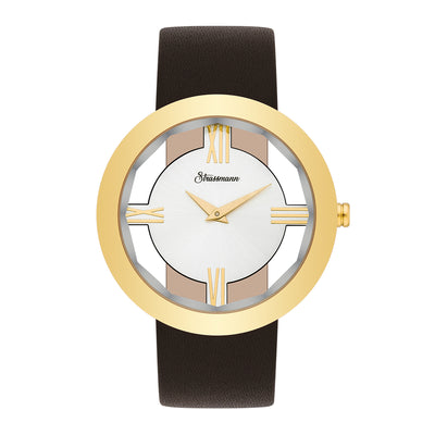 Ladies watch brown yellow gold