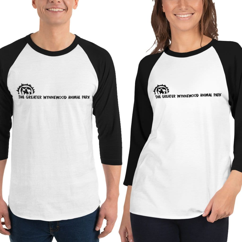 Greater Wynnewood Animal Park 3/4 Sleeve Unisex White and Black T-Shirt