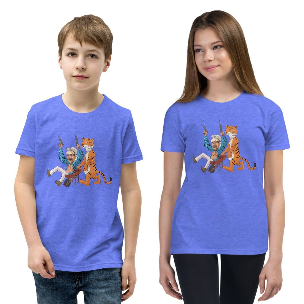 Joe Exotic and Tiger Heather Columbia Blue Youth Unisex T-Shirt