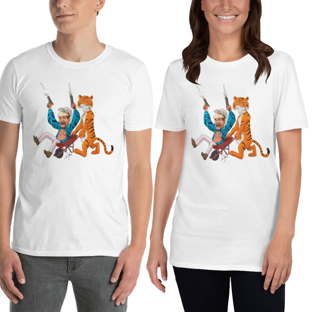 Joe Exotic in Wheel Barrel with Tiger Unisex T-Shirt