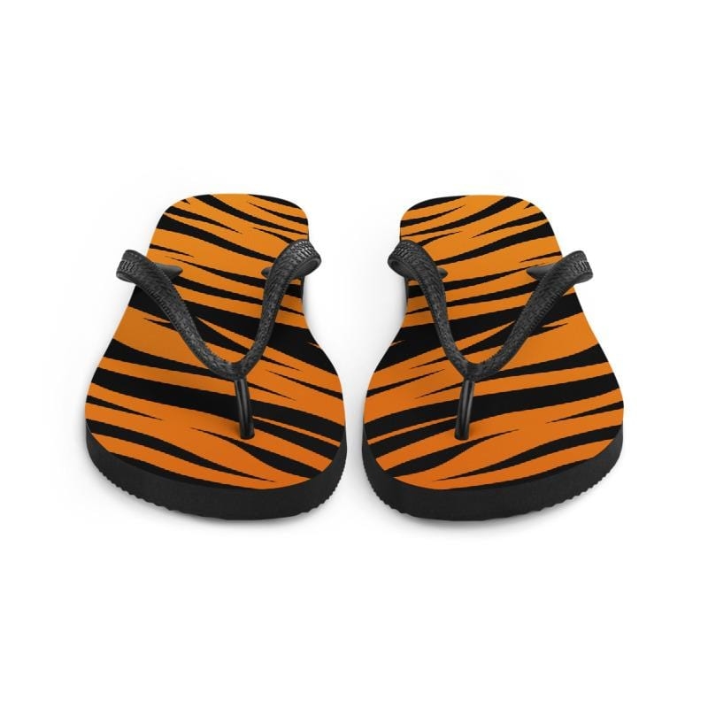 Tiger King Orange Tiger Print Flip Flops Front View