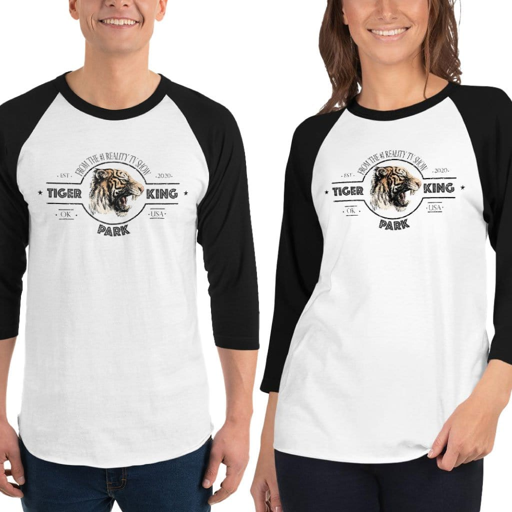 Tiger King Park 3/4 Sleeve White and Black Unisex Shirt