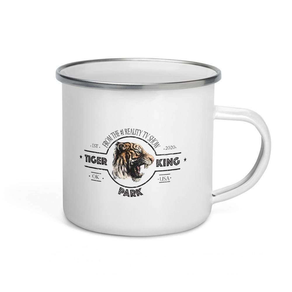 Tiger King Park Camping Enamel Mug Left View