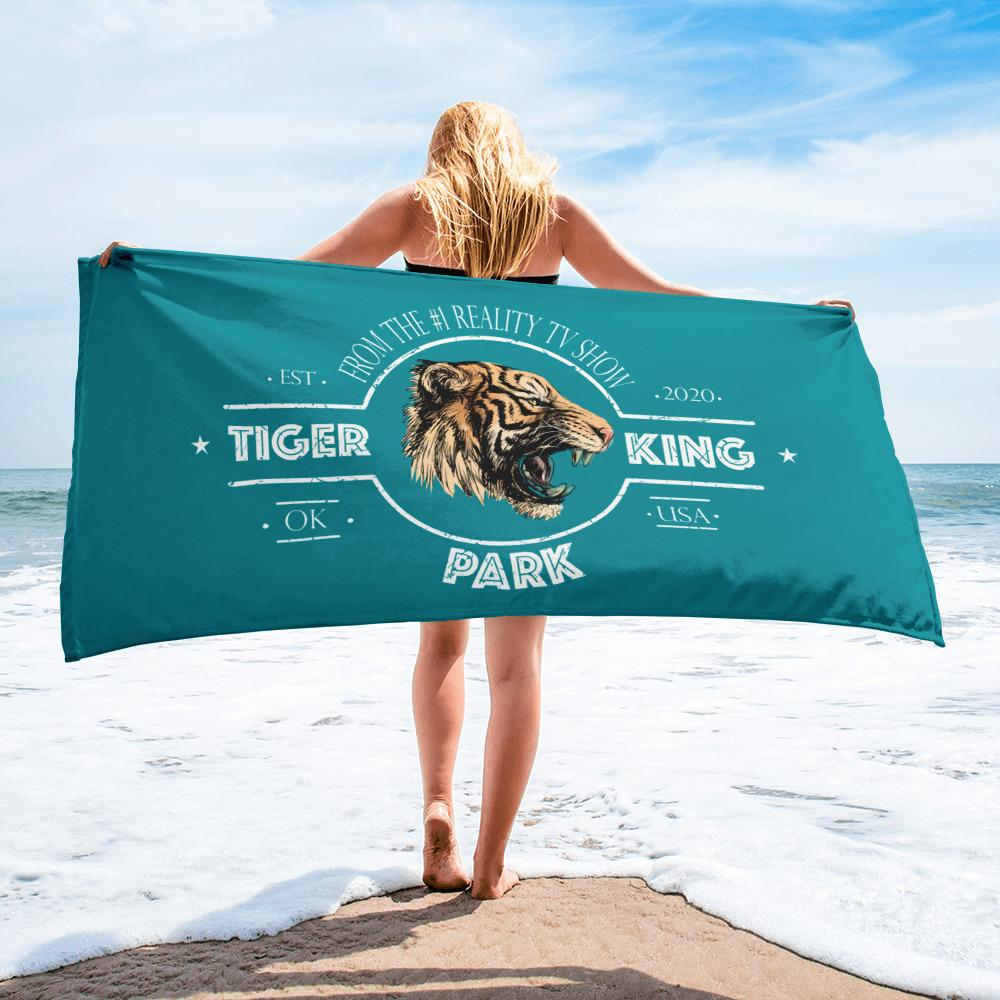 Tiger King Park Eastern Blue Beach Towel On Beach