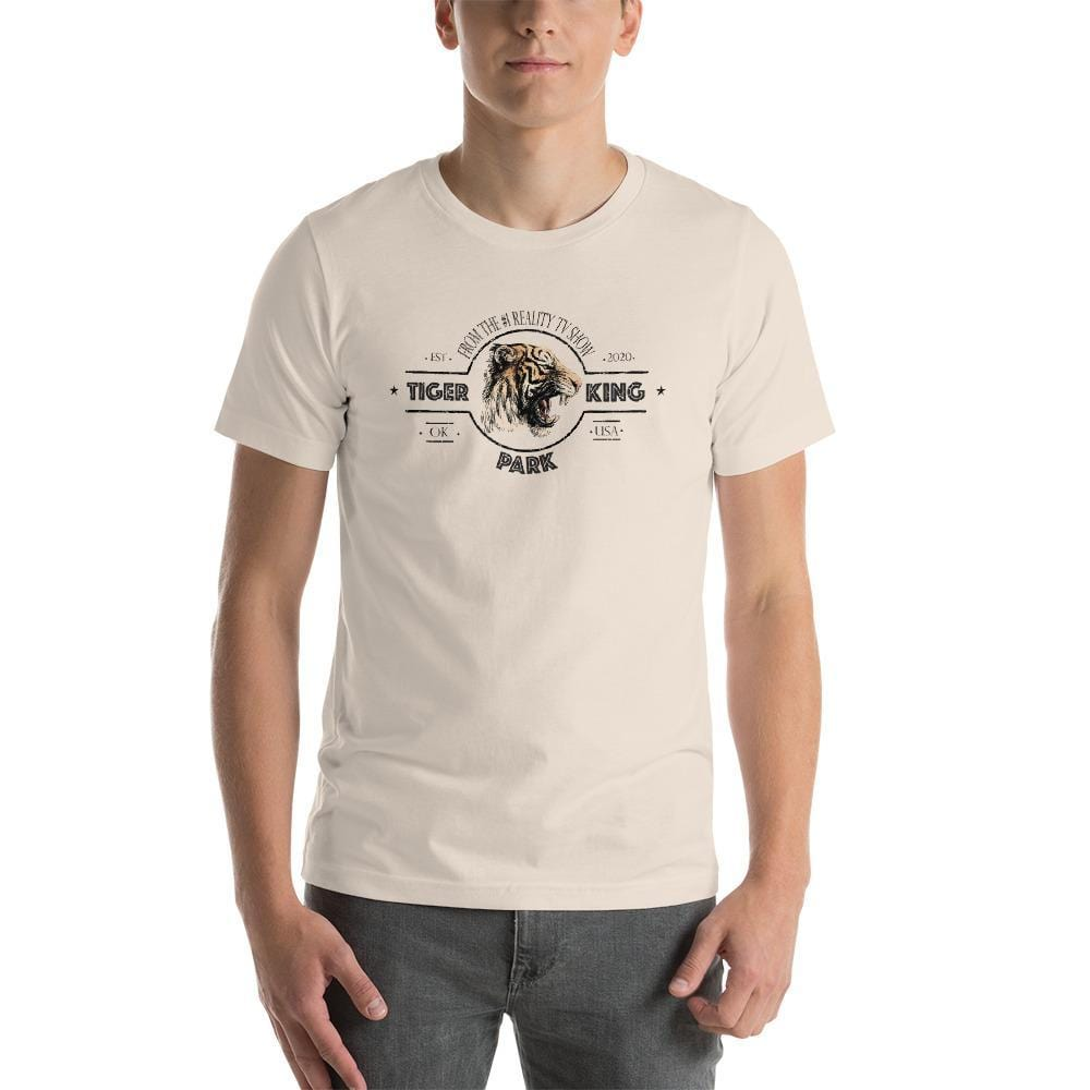 Tiger King Park Unisex T-shirt Soft Cream with Man