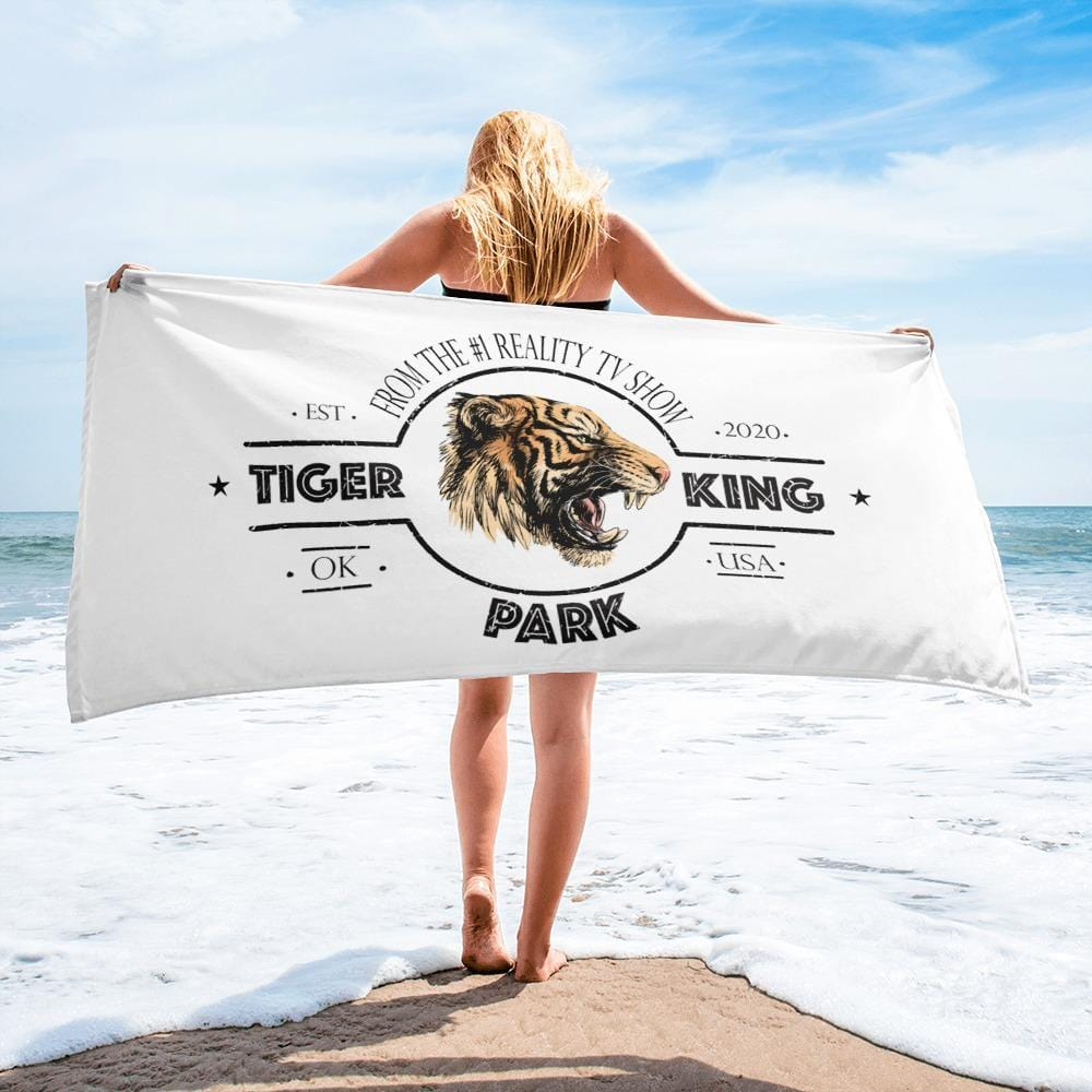 Tiger King Park White Beach Towel on Beach