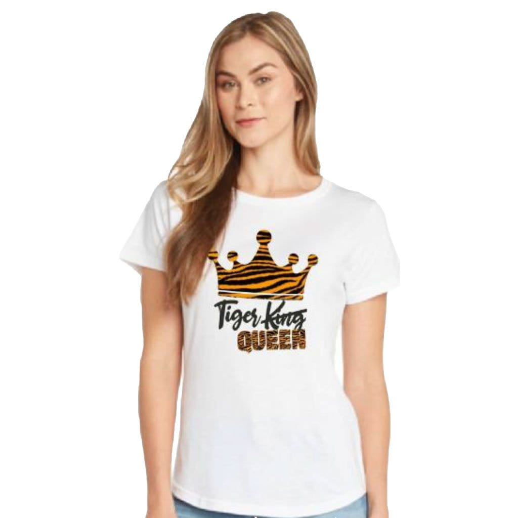 Tiger King Queen Womens Glitter White T-shirt