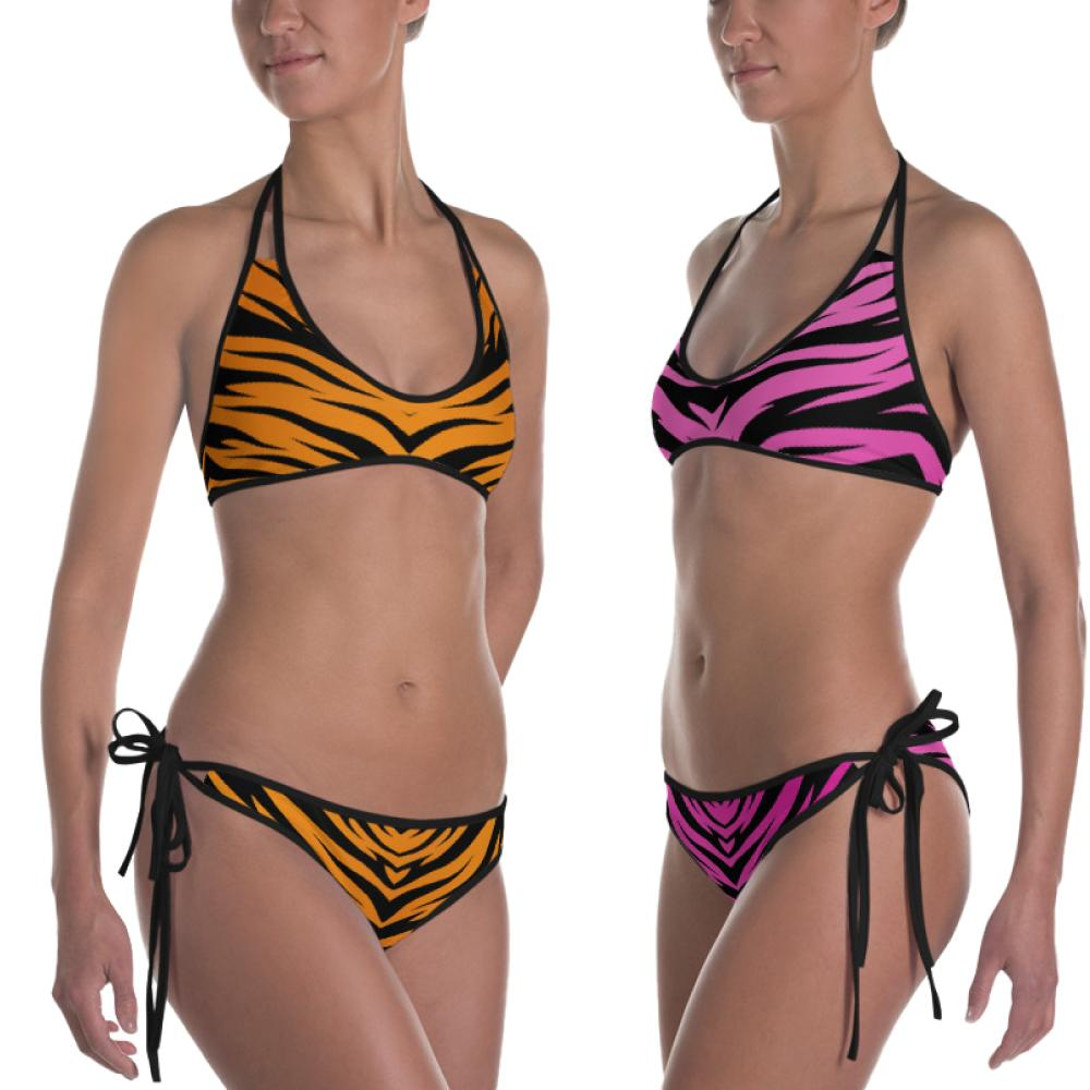 Tiger King Reversible Orange and Pink Tiger Print Bikini from the Side