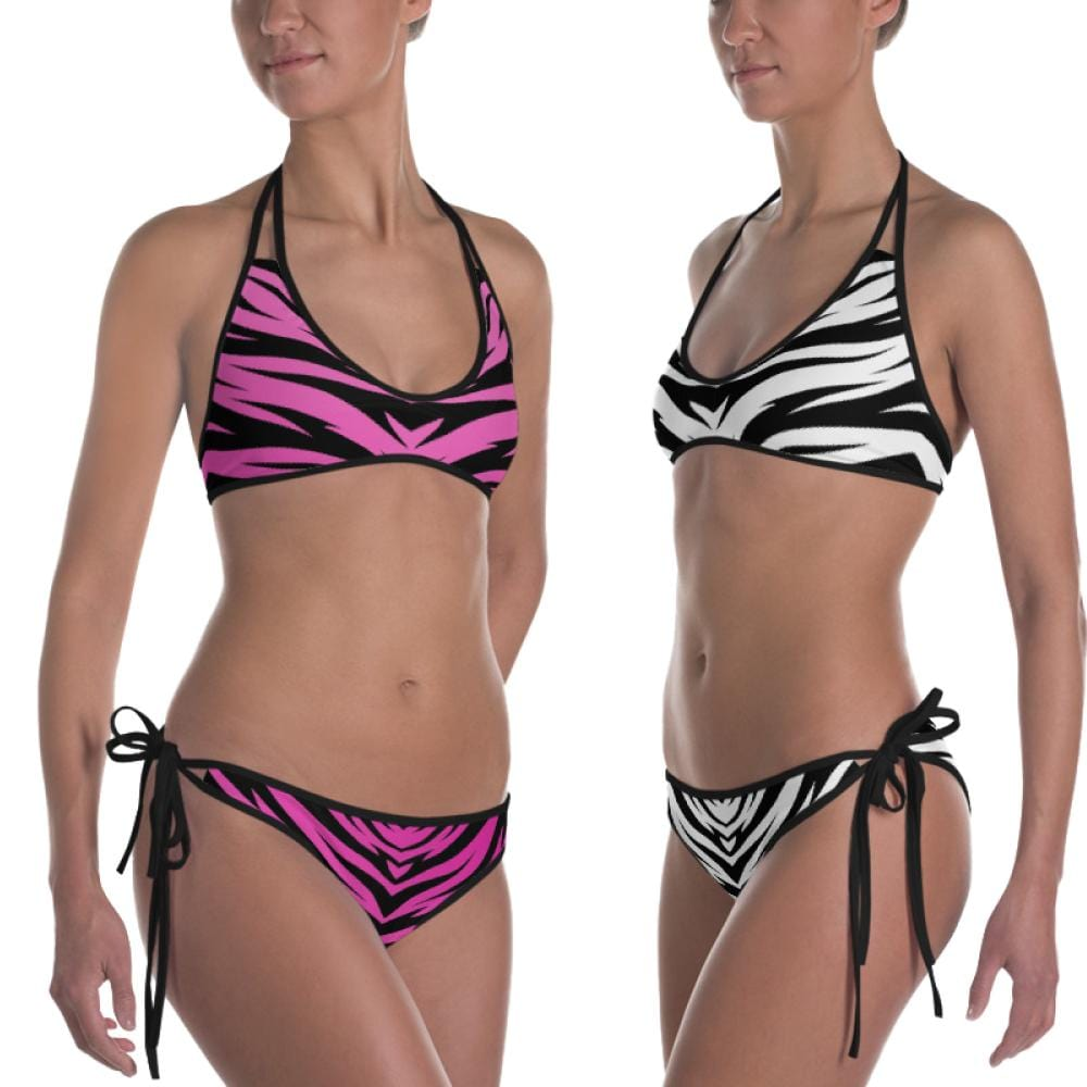 Tiger King Reversible Pink and White Tiger Print Bikini from the Side