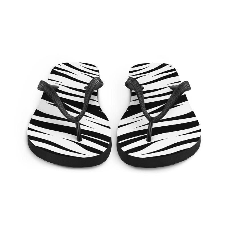 Tiger King White Tiger Print Flip Flops Front View