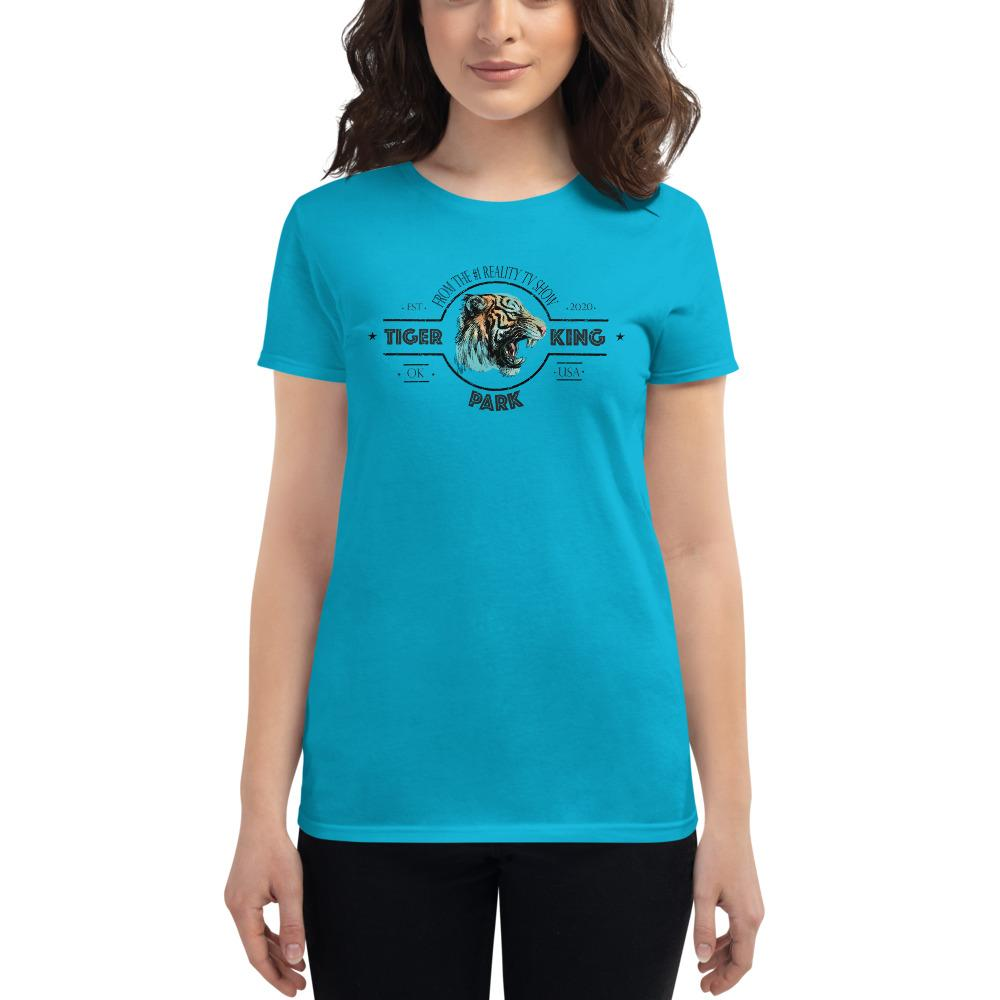 Tiger King Womens Fashion Fit T-shirt Caribbean Blue