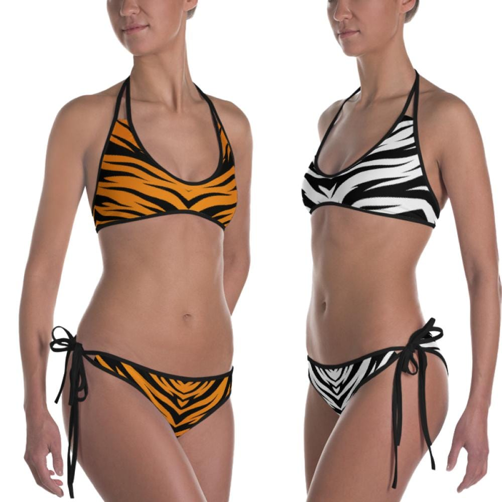 Tiger King Orange and White Reversible Bikini