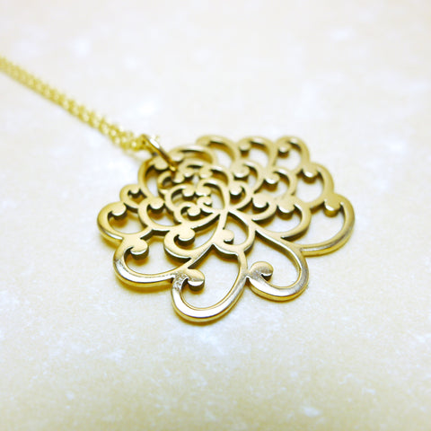 Chrysanthemum Necklace - Natural Bronze with Goldfilled Chain