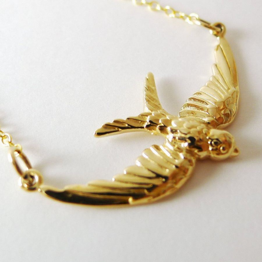 Flying Sparrow Necklace / Natural Bronze