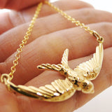 Flying Sparrow Necklace / Natural Bronze / 14k Goldfilled Chain