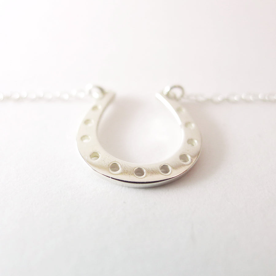 Lucky Horseshoe Charm Necklace / Good Luck Charm / 925 Silver