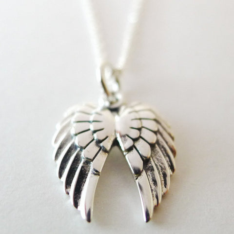 Double Wing Charm Necklace / 925 Silver / 925 Silver Chain