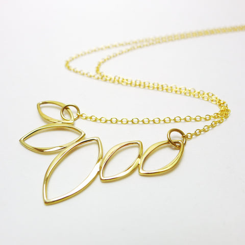 Five Leaf Marquis Pendant / Natural Bronze / 14k Goldfilled Chain