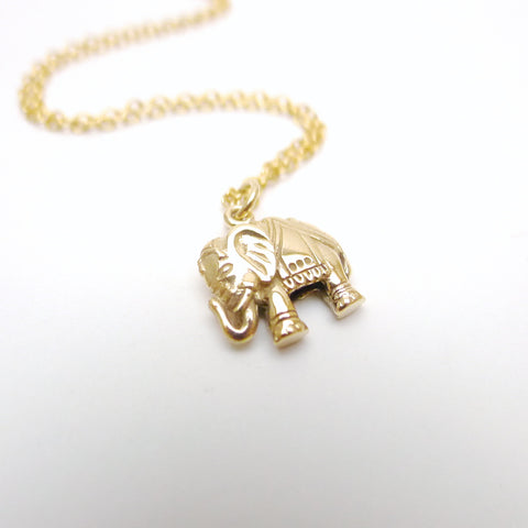 Elephant upright trunk Necklace - Natural Bronze with 14k Goldfilled Chain