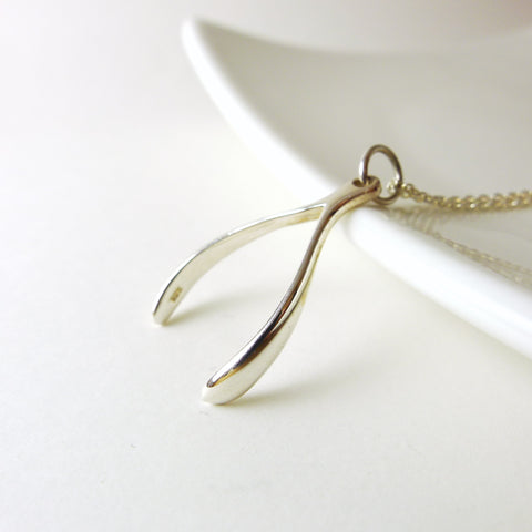 Large Wishbone Necklace / 925 Silver / 925 Silver Chain