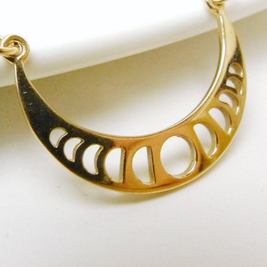 Moon Phases Festoon Necklace / Natural Bronze