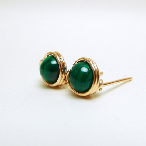 Green Malachite Earstuds