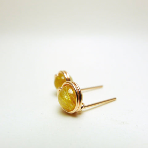 Golden Rutilated Quartz Earstuds