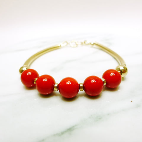 Red Shell Pearls Bracelet / Gold Filled