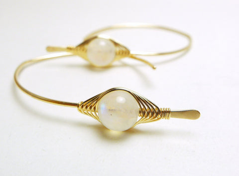 Moonstone Marquis Hoop Earrings