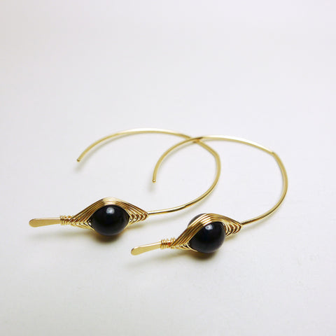 Hypersthene Marquis Hoop Earrings / 14k Yellow Gold-filled
