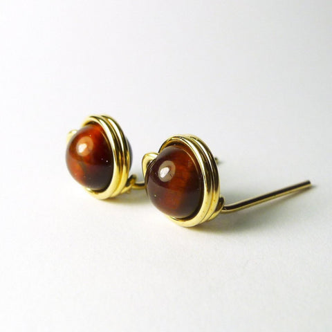 Red Tiger Eye Earstuds