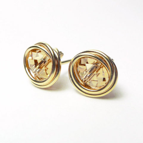 Oval Champagne Crystal Earstuds