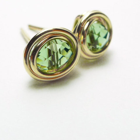 Forest Green Crystal Earstuds
