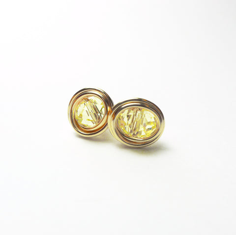 Lemon Yellow Crystal Earstuds