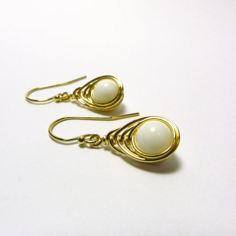 Tears-of-the-Peacock Earrings / Mother-of-Pearl / Handmade / 14k Gold-filled