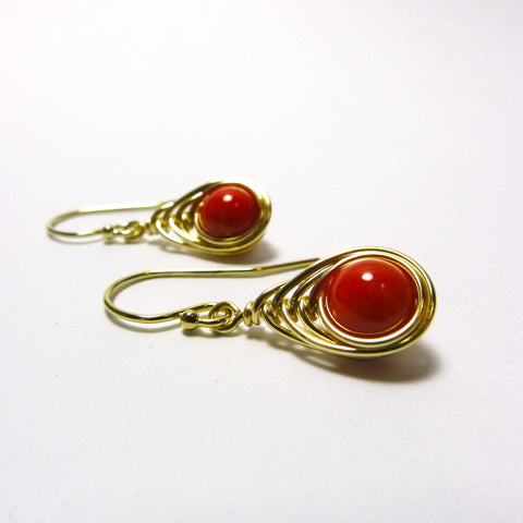 Tears-of-the-Peacock Earrings / Red Coral / Handmade / 14k Gold-filled