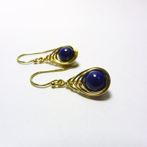 Tears-of-the-Peacock Earrings / Lapis Lazuli / Handmade / 14k Gold-filled