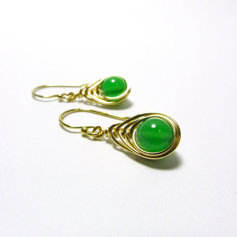 Tears-of-the-Peacock Earrings / Green Agate / Handmade / 14k Gold-filled