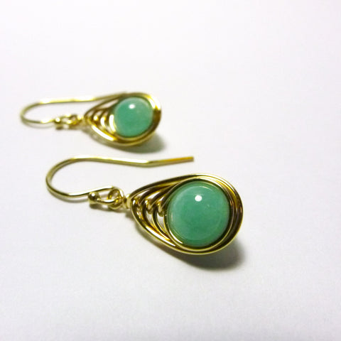 Tears-of-the-Peacock Earrings / Amazonite / Handmade / 14k Gold-filled