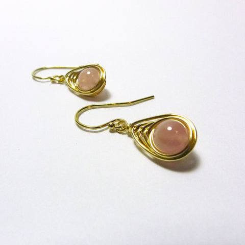 Tears-of-the-Peacock Earrings / Rose Quartz / Handmade / 14k Gold-filled